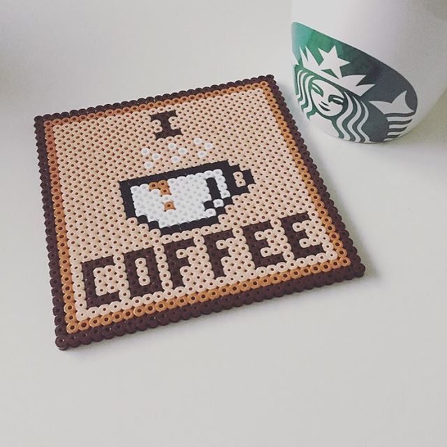 Coffee coaster in Perler beads - I could reproduce this for myself in cross stitch on plastic canvas...