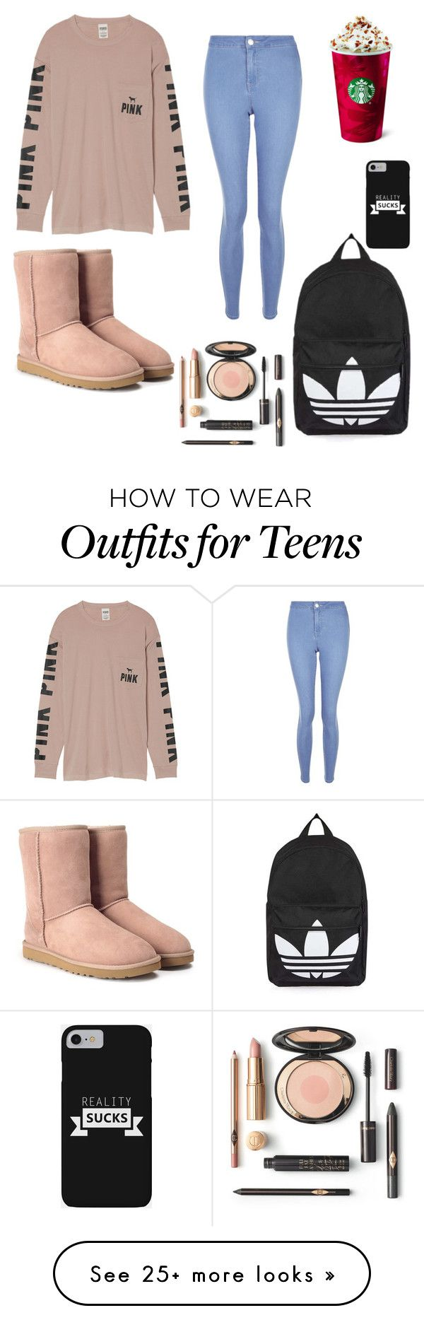 """""""Basic White Girl"""" by takatsukisen on Polyvore featuring Victoria's Secret, New Look, UGG and Topshop"""