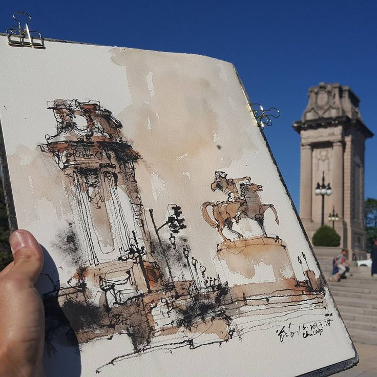 Ch'ng Kiah Kiean Urban Sketchers Penang www.kiahkiean.com Demo for third workshop. #kiahkiean #uskchicago #uskchicag #uskchicago2017#chicago #uskchicago2017 #elevatedtrain #watercolor #watercolour #watercolorsketch #sketch #sketching #traveling #bridge#architecture #art #paint #painting #illustration