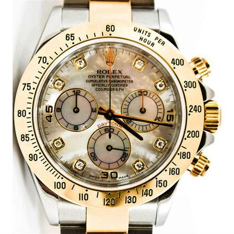 - Model Number: 116523 - Brand: Rolex - Condition: Certified Pre-Owned - Series: Daytona - Gender: Mens - Case Material: Stainless Steel Case Diameter: 40mm Dial Color: Factory white mother of pearl d