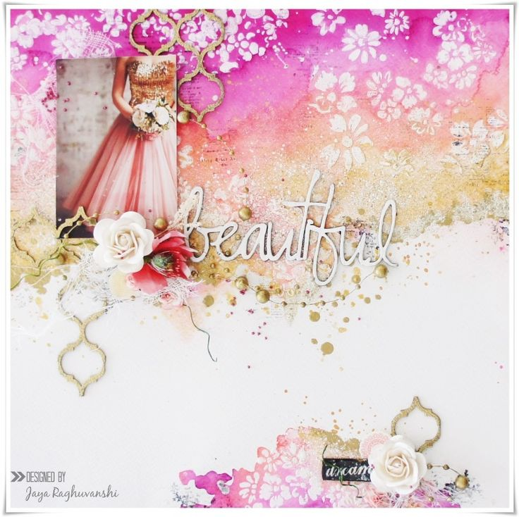 By Jaya Raghuvanshi for December 2015 moodboard at Scrap Around The World.  #moodboard #mixedmedia #mixedmedialayout #scrapbooking #scraparoundtheworld #scrapbookingchallenge #layout #satw #pinkandgold #colourfullayouts #mixedmediascrapbooking