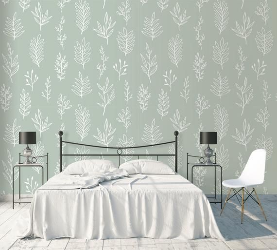 Sage Green Wallpaper Peel And Stick Removable Wall Paper Botanical Self Adhesive Herbs Wall Mural Accent Traditional Wallpaper Non Woven Sage Green Wallpaper Feature Wall Bedroom Green Wallpaper Bedroom