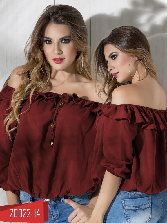 Blusa Moda Colombiana Cereza Vinotinto - Ref. 111 -20022-14 Vinotinto