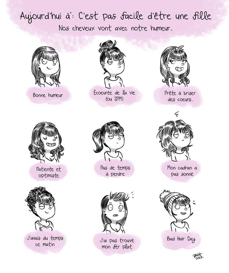 Coiffure selon humeur. Et vous c'est votre cas ? #hair #cheveux #humeur