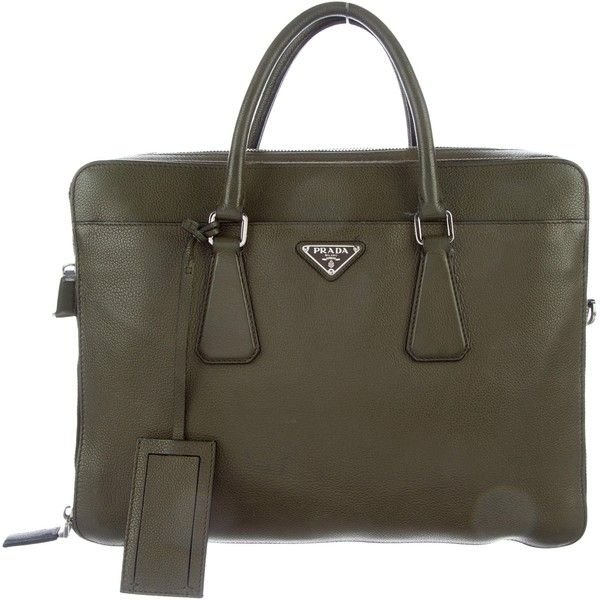 Pre-owned Prada Vitello Daino Soft Briefcase ($745) ❤ liked on Polyvore featuring men's fashion, men's bags, men's briefcases, green, prada mens briefcase, mens leather briefcase and mens briefcase