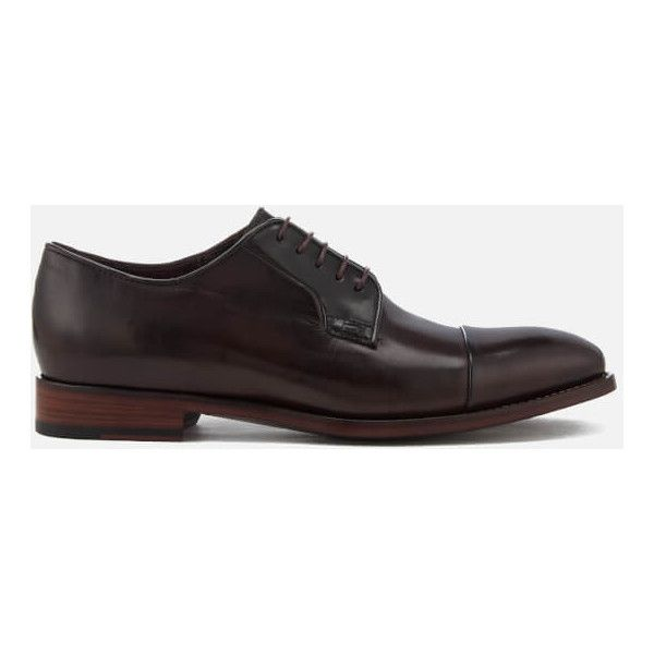 Paul Smith Men's Ernest Leather Toe Cap Derby Shoes - Oxblood ($410) ❤ liked on Polyvore featuring men's fashion, men's shoes, men's oxfords, burgundy, mens leather shoes, mens oxblood shoes, mens shoes, burgundy mens shoes and mens leather derby shoes