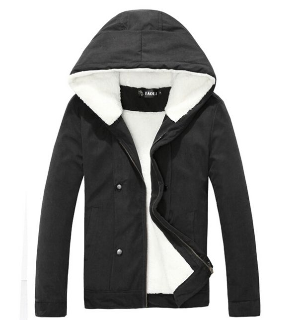 Winter Men  Hooded Fleece Warm  Jacket Coat