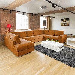 Extra Large Sofa Set Settee Corner Group U / L Shape Orange 4.0 X 2.6m Part 85