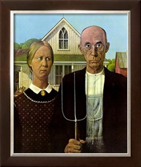 """American Gothic   Painter: Grant Wood (1891-1942)   This is likely the most famous American painting of all-time and has been the basis for many parodies. """"Gothic"""" (an architectural style used for churches) refers to the top window of the house in the background. During the Great Depression, this painting became a symbol of the hard-working and determined American people. Note that the pitchfork is mirrored on the man's overalls."""