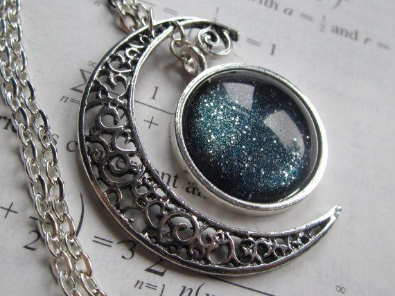 Constellation   Filigree Necklace  Crescent by DarkMatterJewelry, $29.00