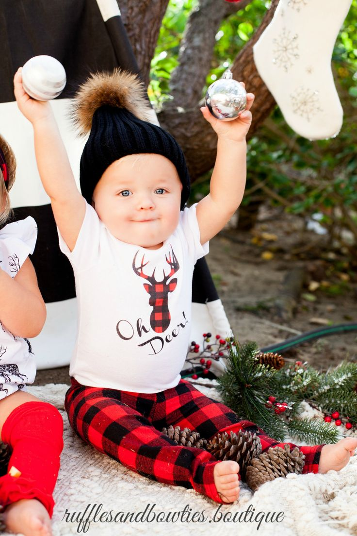 Baby Boy or Girl Oh Deer Christmas Onesie Creeper Body Suit - Babys First Christmas Shirt - Boho Babies First Christmas Body Suit - Boho Christmas Shirt - Baby Boy Christmas Shirt - Ruffles & Bowties Bowtique - Calgary