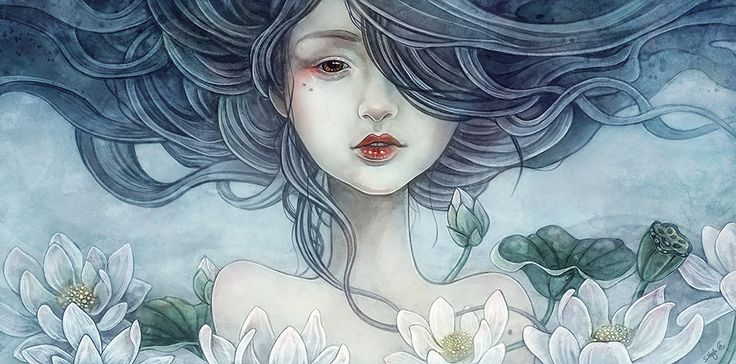 """""""if only"""" portrait of asiangirl with waterlilies, painting by sylvia strijk (strijkdesign)"""