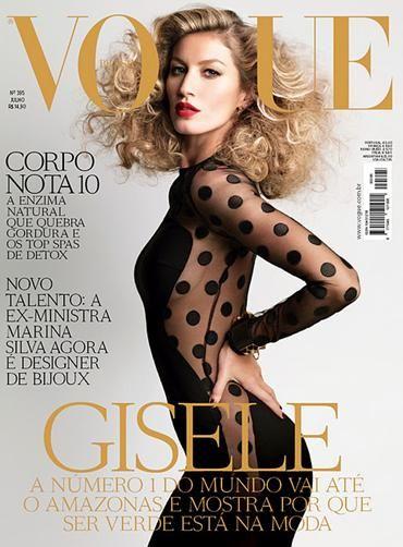 Gisele Budchen in Stella McCartney's Black Sheer Polka Dot Lucia Dress for Vogue Brasil, July 2011