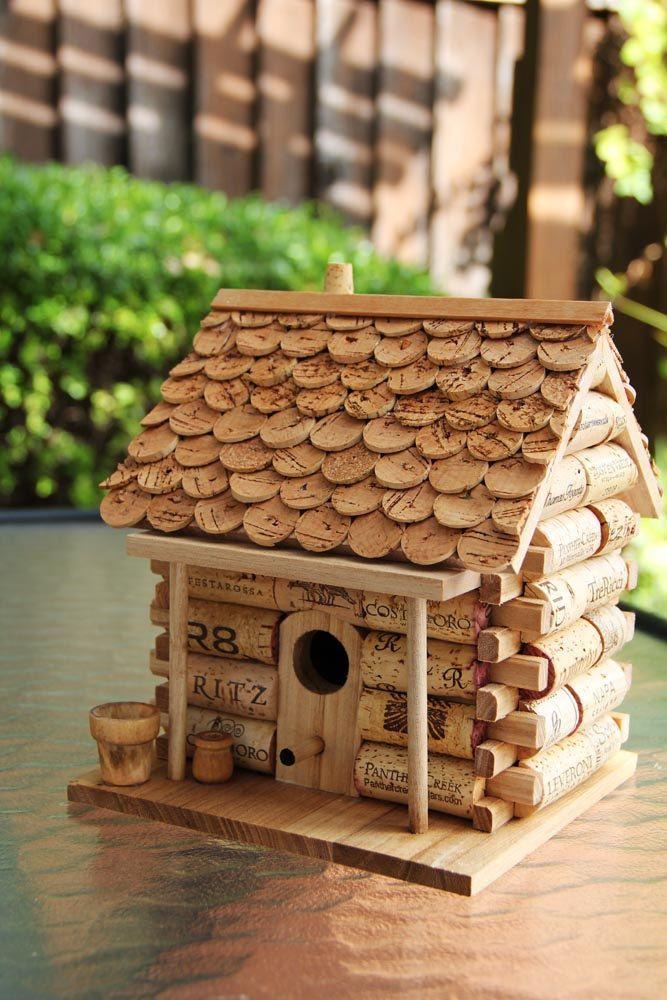 Birdhouse Log Cabin di CarefullyCorked su Etsy, $44,95