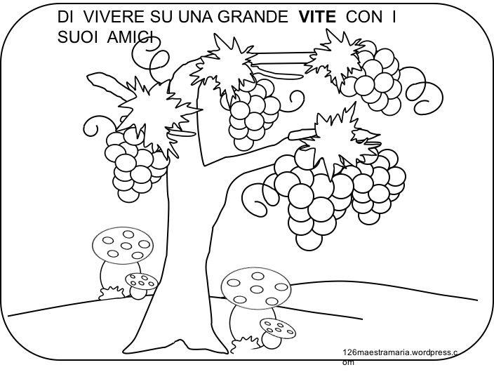 Dall'uva al vino: simpatica storiella sulla vendemmia da stampare e colorare LA FILASTROCCA DEL VINO DALLA PERGOLA NASCE L'UVA: PRIMA ACERBA,POI MATURA. LA RACCOGLIE IL CONTADINO E LA SCHIACC…