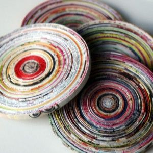 coiled magazine page coasters