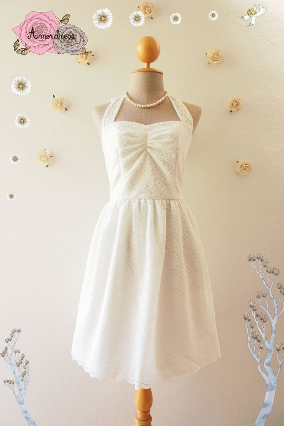 Dress in off White Lace Halter Dress Lace Bridesmaid von Amordress