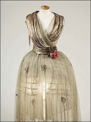 Lanvin silk tulle skirt with silver bugle bead applique, Winter 1918.