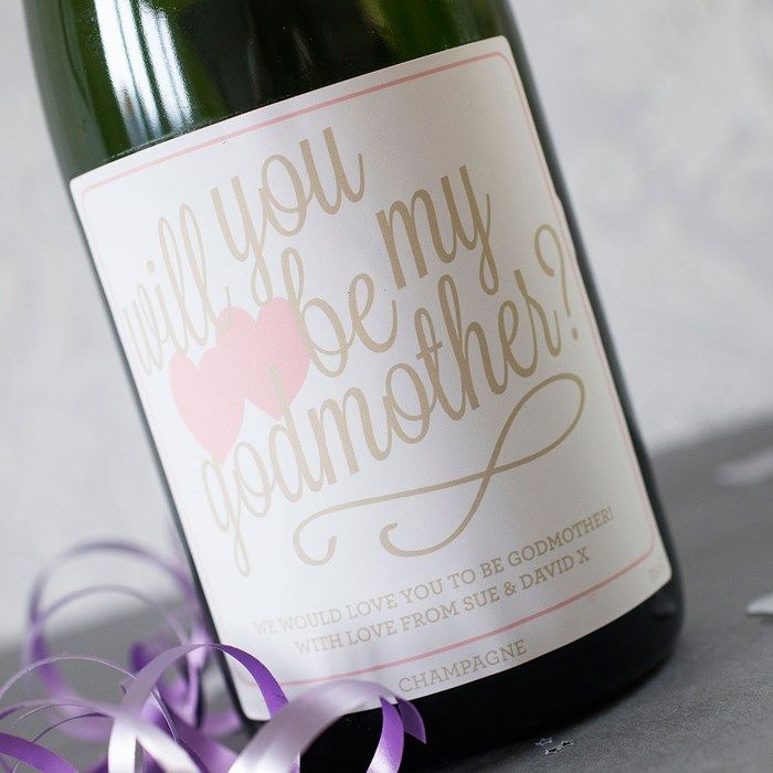 Luxury Personalised Champagne - Will You Be My Godmother?