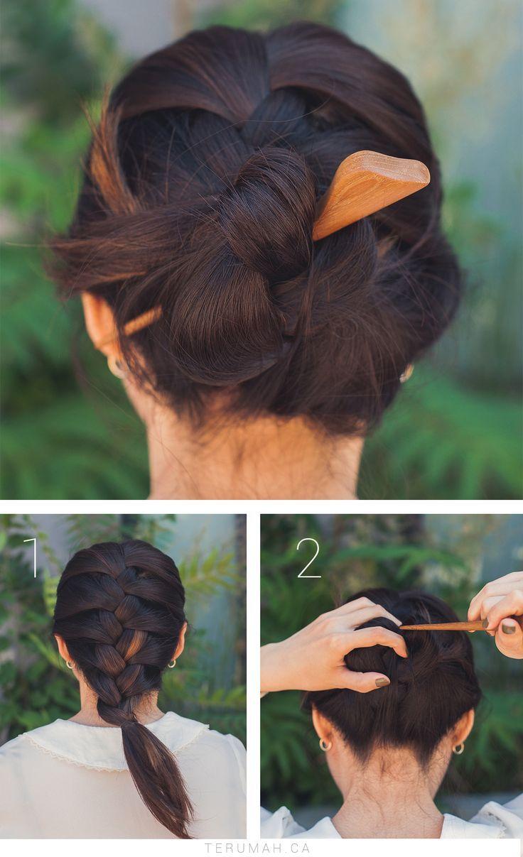 3 Easy Updos X Saya Hair Stick Terumah Hair Sticks Curly Hair Styles Naturally Thick Hair Styles