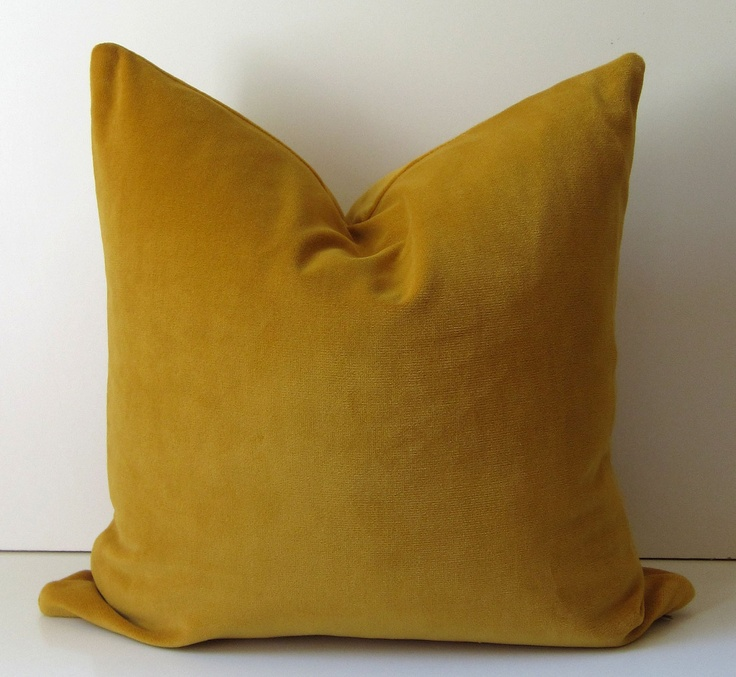 Mustard Throw Pillow Covers : Mustard Yellow pillow - Decorative Pillow Cover - 20 inch - designer quality - Yellow velvet ...