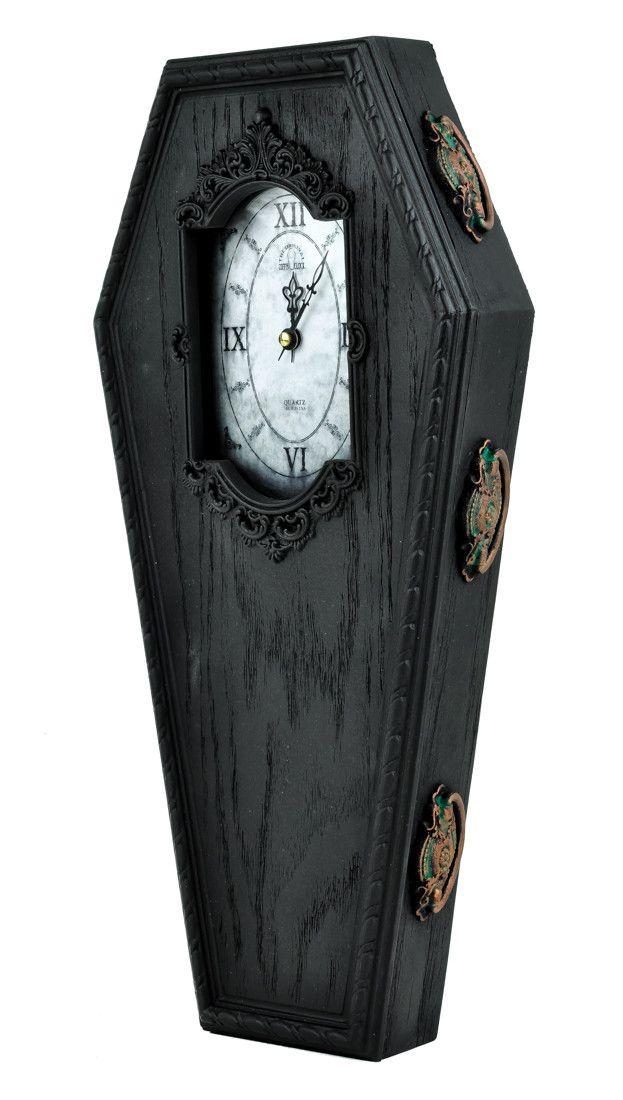 Black Victorian Gothic Coffin Wall Clock Halloween Home Decor