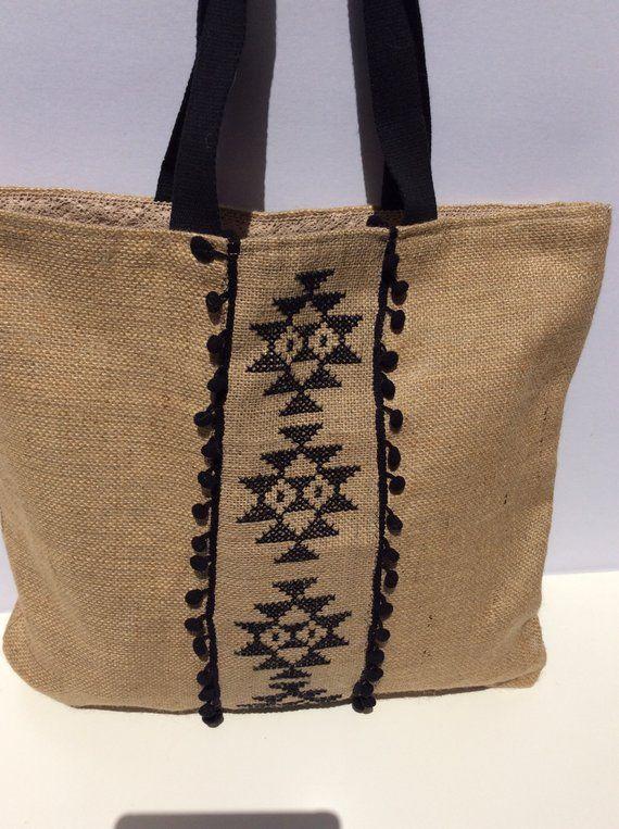 Boho handmade beach bag Burlap tote bag hand cross | Etsy
