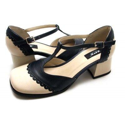 Sapato boneca retrô em couro Off White / Marinho