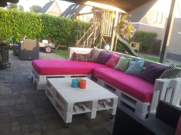 Loungebank van pallets loungen pinterest tuin opslag en terras - Opslag idee lounge ...