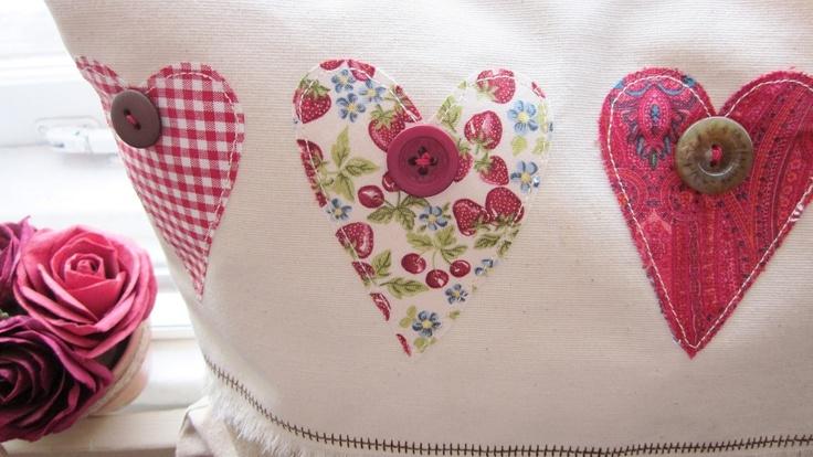 Handmade cushion by lil ol me,hearts'n'roses