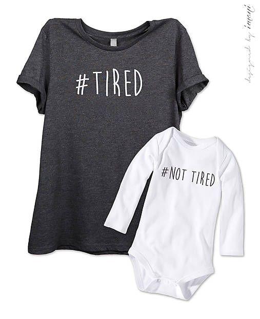 Dámske tričko + detské body = súprava MAMA #TIRED / imani - SAShE.sk - Handmade Detské oblečenie