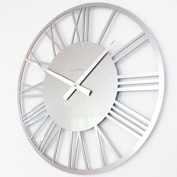 Roco Verre Gloss Acrylic Skeleton Roman Wall Clock Large Silver Wall Clock Contemporary Wall Clock Wall Clocks Living Room