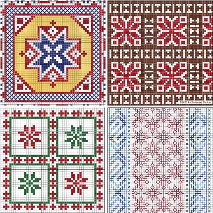 Mathilde Eschenbach's Charts for Medieval Egyptian Counted-Thread Embroidery. This site is an index of free motifs of mainly Middle Eastern origins for double running stitch, pattern darning, and cross-stitch. Check it out.  http://home.comcast.net/~mathilde/embroidery/chrtindx.htm