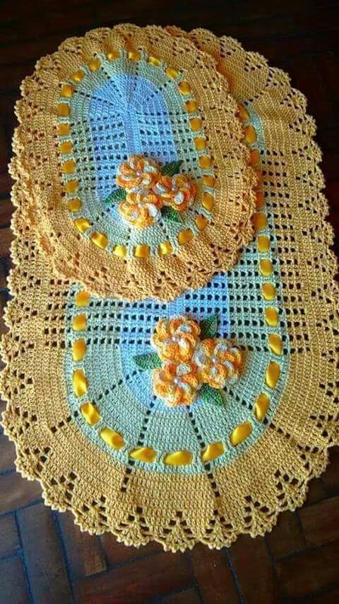 Tapete de banheiro em crochê