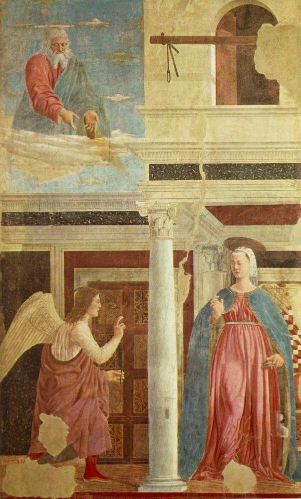 Annunciazione,  AutorePiero della Francesca, Data1452-1458, Tecnica affresco, Dimensioni329×193 cm, Ubicazione basilica di San Francesco, Arezzo