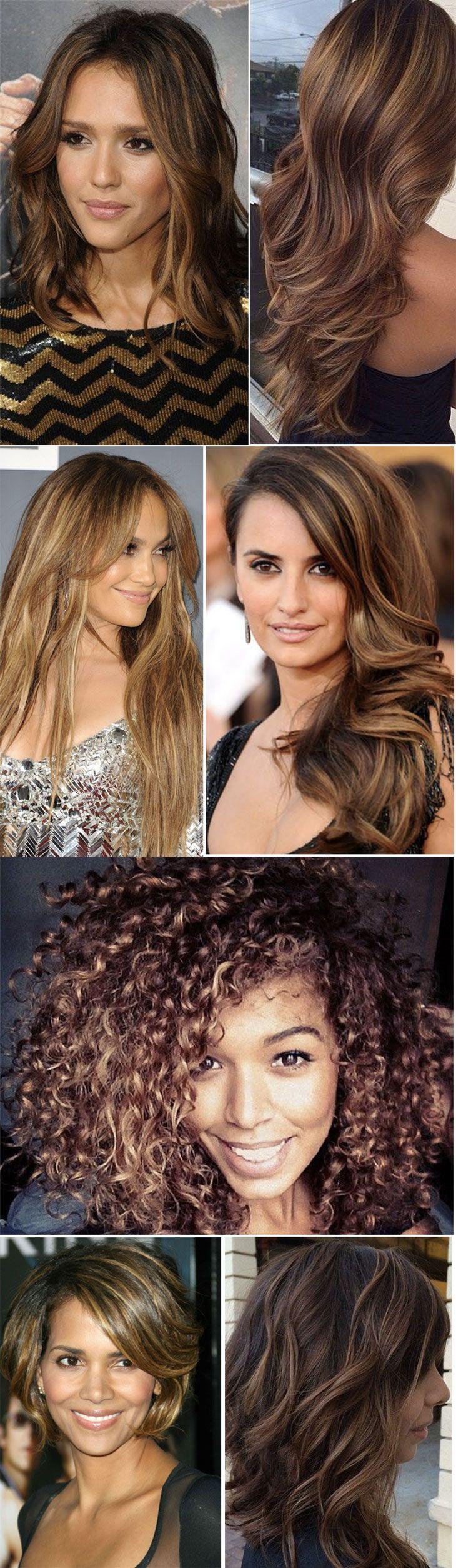 Inspirações de cabelos com luzes: castanhos