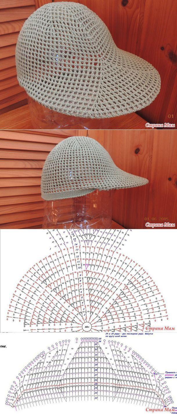 схемы вязания летних бандан кепок бейсболок и шляп для мужчин