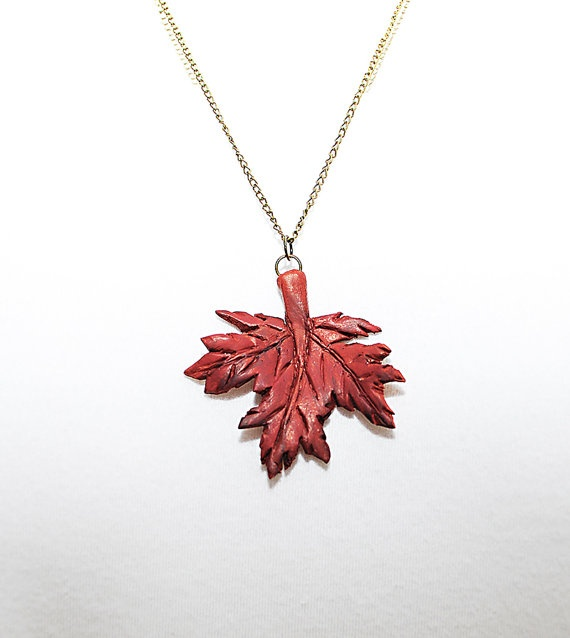 Handcrafted Autumn Red Maple Leaf polymer clay by AuntSophies, $26.00
