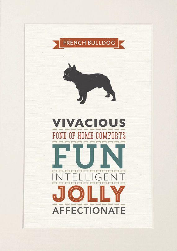 French Bulldog Dog Breed Traits Print French by WellBredDesign