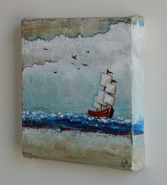 Winds and Tides Small sailboat painting fine by MarieClaproodArt