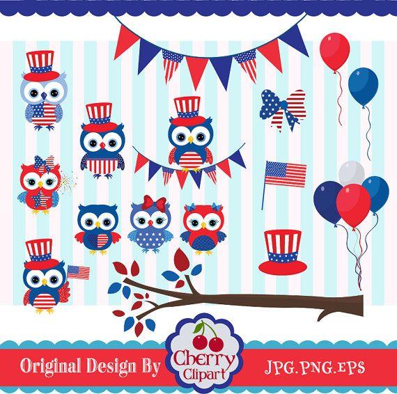 Patriotic owl. Th of july
