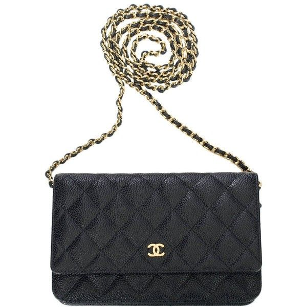 Chanel Black Classic Quilted Caviar Wallet On Chain (WOC) ❤ liked on Polyvore featuring bags, wallets, chanel bags, chain shoulder bag, chanel wallet, handbags shoulder bags and quilted wallet
