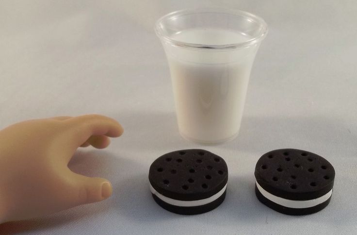 """Milk and Cookies - Doll Food made for 18"""" American Girl Dolls / bjd"""