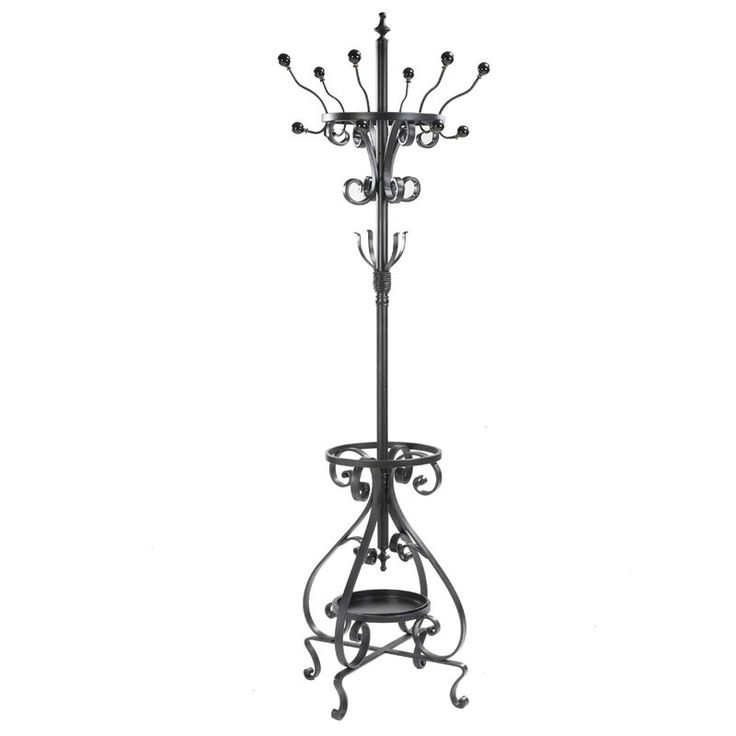 Metal Coat Rack $534 AUD - The scrollwork throughout this Metal Coat Rack give this item a traditional look that will never go out of style. With multiple hooks, there is plenty of storage space for everyday use. Along the bottom is an umbrella shelf with a small lip to prevent droplets from spilling on to the floor. Coat Rack Size: approx. 189 cm (H) #Vintage #Retro #FrenchProvincial