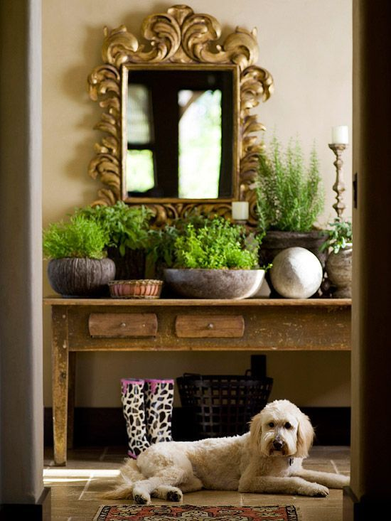 Showcase your love for the outdoors at the entry way to your home. The mirror placement might not be feng-shui, but the plants are excellent!
