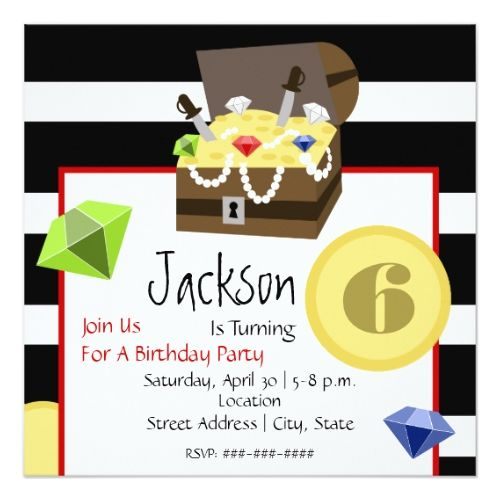 249 best pirate birthday party invitations images on pinterest pirate birthday invitations pirate treasure chest coins jewels birthday card stopboris Image collections