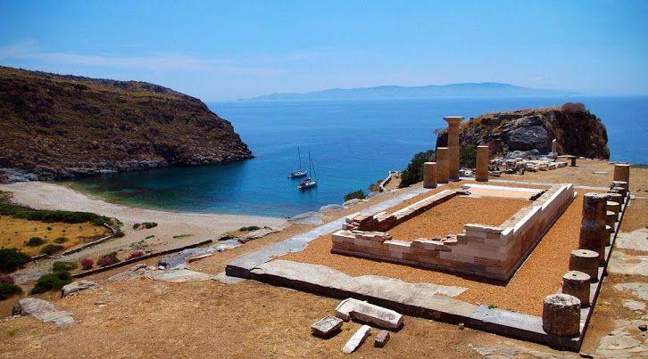 Ruins of the temple of Athena in Karthaea. Kea (Tzia) Island, Greece