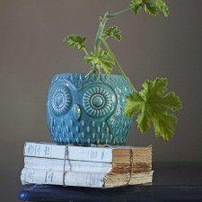 Ceramic Teal Owl Pots