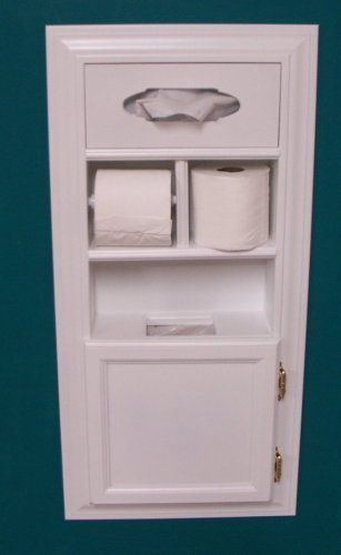 Cool idea, crazy price! $1000! | (MPU-1) Recessed Solid Wood Bathroom In the Wall Trash Can Toilet Paper Holder Tissue Kleenex Dispenser Multipurpose Unit, Enamel Finish, Holds Spare Roll Also, Uses Standard Small Garbage Bags by WG Wood Products