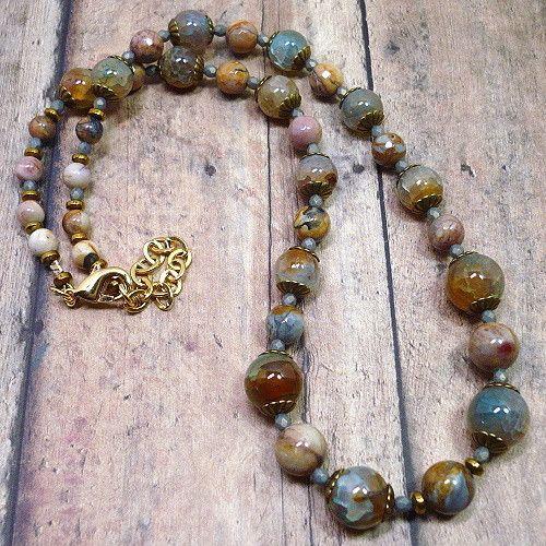 Venus Jasper and Blue Orange Crackle Agate Adjustable Stone Necklace